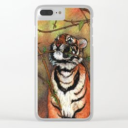 Baby tiger is playing Clear iPhone Case