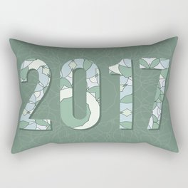 2017 year illustration decorated with abstract  decorative pattern in grey colors. Rectangular Pillow