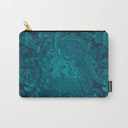 Metallic Teal Floral Pattern Carry-All Pouch