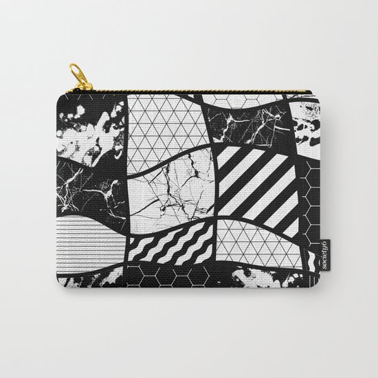 Crazy Patchwork (Abstract, black and white, geometric designs) Carry-All Pouch