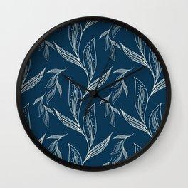 Indigo Foliage #society6 #pattern #indigo Wall Clock