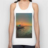 santa monica Tank Tops featuring Santa Monica Pier by The Agate Hunter