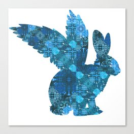 Blue Aqua Turquoise Flying Rabbit Print Canvas Print