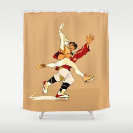 Damen & Laurent skating AU Shower Curtain