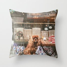 King Charles Spaniel at the Cafe Throw Pillow