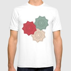 Flowers White Mens Fitted Tee SMALL