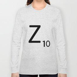 Letter Z - Custom Scrabble Letter Tile Art - Scrabble Z Initial Long Sleeve T-shirt