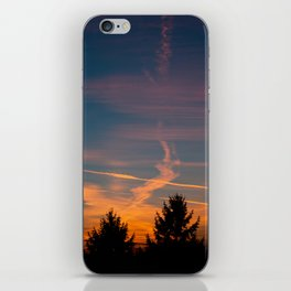 Evening aeroplane contrails sunset iPhone Skin