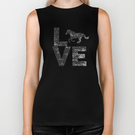 I Love Horses Silhouette Horse Running Two Tone Distressed Look Biker Tank