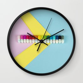 Happy little rainbow pills Wall Clock