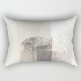 Beige and Brown Minimalist Abstract Painting Rectangular Pillow