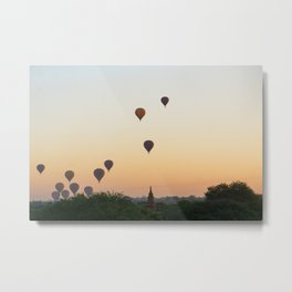 Sunrise with hot air balloons | Temples of Bagan | Myanmar Travel Photography Metal Print