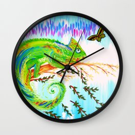 Chameleon and Butterfly Wall Clock
