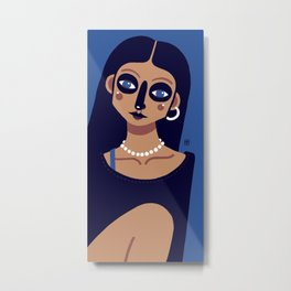 Girl on blue background Metal Print