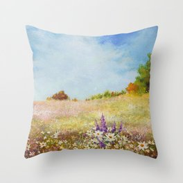 Meadow Wildflowers Acrylic Painting Throw Pillow