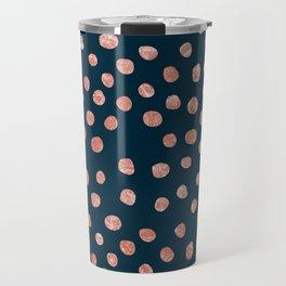 metallic rose gold dots on navy background Travel Mug