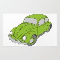 vw Area & Throw Rugs featuring VW Beetle by tuditees