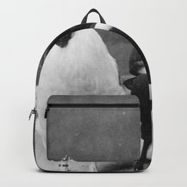 Smoking Boy with Chicken black and white photograph Backpack