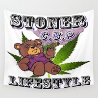 cannabis Wall Tapestries featuring The King Of Cannabis Timothy The Cannabis Bear  by Timmy Ghee CBP/BMC Images  copy written