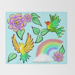 Birds Flowers and Rainbows Doodle Pattern Throw Blanket