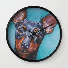 Miniature Pinscher dog art portrait from an original painting by L.A.Shepard Wall Clock