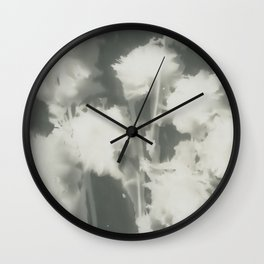 Gray Dahlias Wall Clock