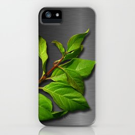 Green Leaves & Metallic Background iPhone Case