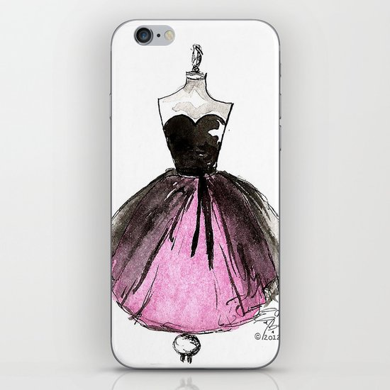 Pink and Black Sheer Dress Fashion Illustration iPhone & iPod Skin