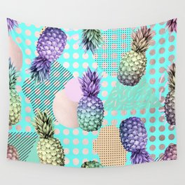 Pineapple Summer Rainbow Rose Gold Wall Tapestry