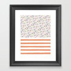 Flowers & Stripes Framed Art Print