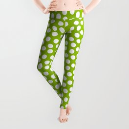 White Polka Dots on Fresh Spring Green- Mix & Match with Simplicty of life Leggings