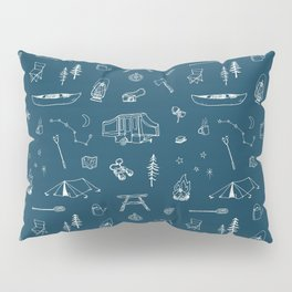 Simple Camping blue Pillow Sham