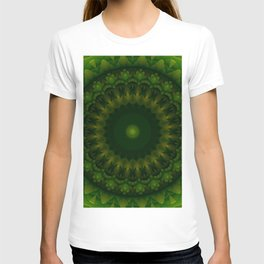 Mandala in light and dark green tones T-shirt