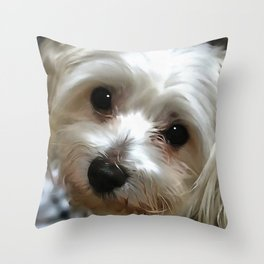 White Haired Street Dog Portrait Throw Pillow
