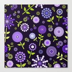Retro purple flowers  Canvas Print