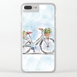 Spring Bicycle Watercolor with Flowers Clear iPhone Case