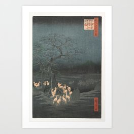 New Year's Eve Foxfires at the Changing Tree, Hiroshige Art Print