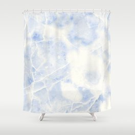 Blue and White Marble Waves Shower Curtain