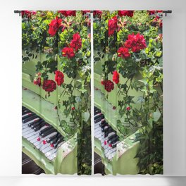 Piano with Flowers Blackout Curtain