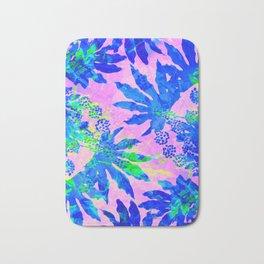 Tropical Adventure - Neon Blue, Pink and Green #tropical #homedecor Bath Mat