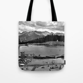 adventure park hög alps serfaus fiss ladis tyrol austria europe black white Tote Bag