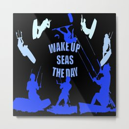 Wake Up Seas The Day Kiteboarder Royal Blue Metal Print
