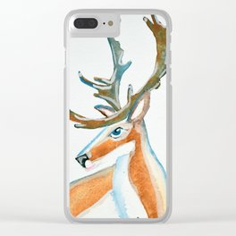"""Frosty Reindeer """"Old Big Blue"""" Clear iPhone Case"""