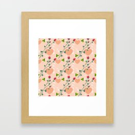 Pink pattern with roses Framed Art Print
