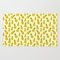 pineapples Area & Throw Rugs featuring Pineapples by Sara Showalter