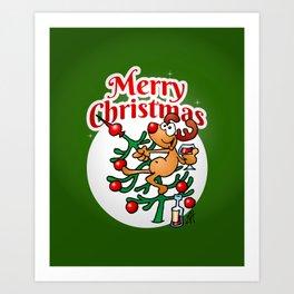Reindeer in a Christmas tree Art Print