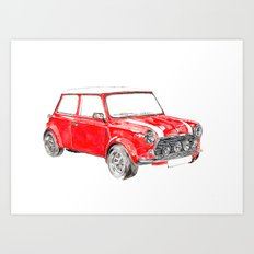 Red Mini Cooper Art Print