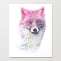 FOX SUPERIMPOSED WATERCOLOR Canvas Print