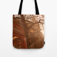 telephone Tote Bags featuring Telephone. by Beth Retro