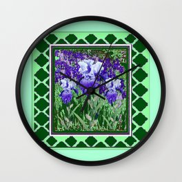 JADE GREEN PURPLE IRIS GARDEN PATTERN DESIGN Wall Clock